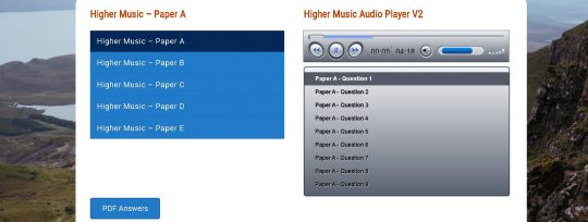 Higher Music Audio Page